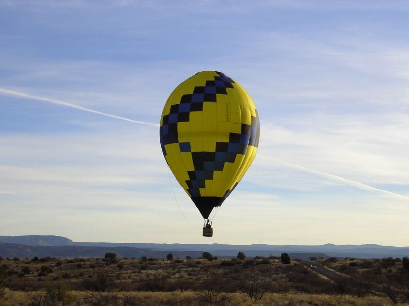 Yellow and blue hot air balloon